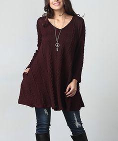 Burgundy Cable Knit V-Neck Side-Pocket Tunic - Plus