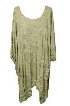 Barbara Speer Lagenlook Tunika Shirt Poncho in taupe old look. XL-XXL Mode bei www.modeolymp.lafeo.de.