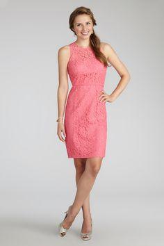 short pink lace bridesmaid dress