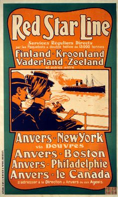 Red Star Line vintage Poster 1900. Antwerp - New York (via Dover), Antwerp - Boston, Antwerp - Philadelphia, Antwerp - Canada