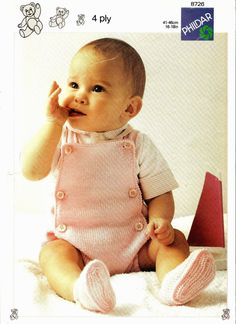 VINTAGE Knitting Pattern pdf/ Rompers and Shoes/ INSTANT DOWNLOAD