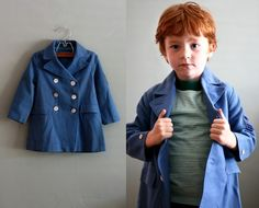 little double breasted wool coat #flourclothing #vintage #children's #40s
