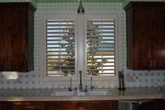 "3 1/2"" louver interior shutters in kitchen in Borrego Springs, CA. www.sandiego-shutters.com"