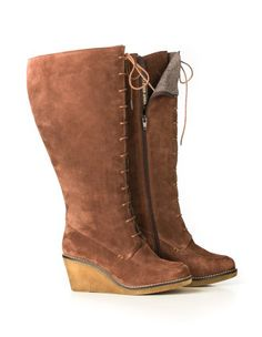 Wedged boots with lacing in Brown designed by JJ Footwear to find in Category Boots at navabi.de