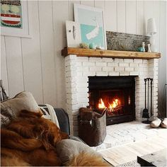 We love a white brick fireplace.