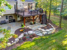 Sloped Backyard Case Study: Under Deck Patio, Fire Pit, Steps Under Deck Landscaping, Patio Under Decks, Deck Patio, Flagstone Patio, Patio Stone, Patio Privacy, Concrete Patio, Patio Table, Small Patio