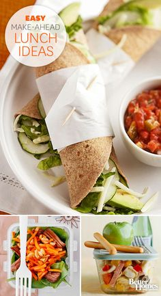 Stop stressing! These 12 mouthwatering, make-ahead lunch ideas are perfect for hectic workweeks: http://www.bhg.com/recipes/quick-easy/make-ahead-meals/lunch-ideas/?socsrc=bhgpin092513lunchideas