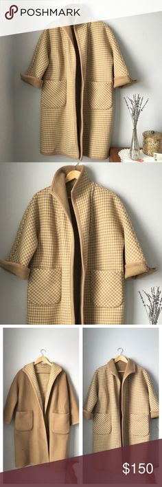 """bergdorf goodman reversible wool houndstooth coat *$120 via etsy link in profile* stunning vintage bergdorf goodman camel tan wool houndstooth reversible open front coat. very well made. no size tag, fits variety of sizes depending on desired fit. measurements w/ coat closed & laying flat: 22"""" pit to pit, 18 across shoulders, 35"""" long. as shown in photos, discoloration on back collar & left sleeve cuff, both can't be seen if collar is folded down or sleeve cuffed. also some marks on tan side…"""