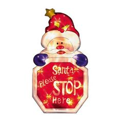 SANTA Stop Here Window Light Display Santa Christmas Window Plaque Mains Operated. Indoor use only.A hit with both parents and children alike, make sure Santa stops at your house this Christmas by displaying this bright and cheery sign i http://www.MightGet.com/january-2017-11/santa-stop-here-window-light-display.asp