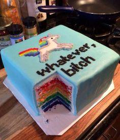 whatever bitch unicorn rainbow cake
