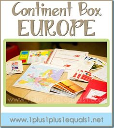 Europe Continent Box ~ ideas, printables, resources, and more! From 1+1+1=1 Geography Activities, Teaching Geography, Geography Map, Geography For Kids, World Geography, Classroom Activities, Montessori Activities, Europe Continent, Continents And Countries, Social Studies, The World, Europe, Social Science