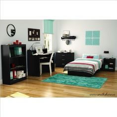 South Shore Libra Kids Pure Black Twin Wood Platform Bed 3 Piece Bedroom Set for only $230.17 You save: $214.83 (48%)