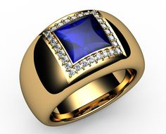 1.78 Ct. 18K Gold Diamonds & Princess Cut Strong Vivid Blue Sapphire Mens Ring - http://www.jewelryonet.com/Buy/59534/YellowGold