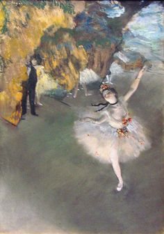 Edgar Degas was fascinated with the movement of dance and over half of his paintings are focused on this subject matter. Prima Ballerina is from 1876-77.  http://www.edgar-degas.org/