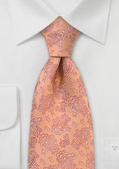 Summery Orange Paisley Tie