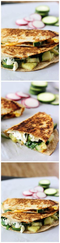 Zucchini and Spinach Quesadillas are a delicious, simple meal that can be made in under 15 minutes.