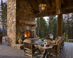 rustic deck with fireplace