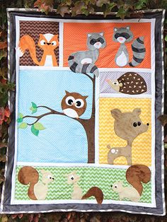 Oh-so-cute pattern that will make you squeal with delight! This precious pattern makes the absolutely perfect gift for any expectant parents and their soon-to-be-born baby! Fun and easy to make, this pattern has 6 block backgrounds and appliques for 9 delightful forest animals, includes a fox, 2 raccoons, 3 squirrels, a hedgehog, a deer and an owl. Pattern includes instructions for assembly and attaching the appliques, as well as full-size tracing guides for each applique. Finished size is…