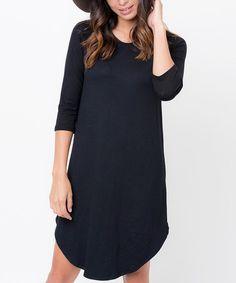 Another great find on #zulily! Black Half-Sleeve Shift Dress #zulilyfinds
