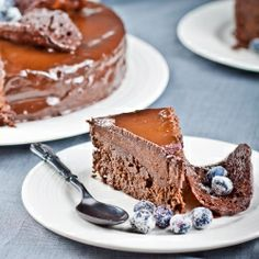 Black Dahlia Cake - flourless chocolate cake topped chocolate mousse & smothered in chocolate glaze. Death By Chocolate. #foodgawker