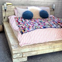Solid Wood Bed made from Railway Sleepers with by RatAndPallet