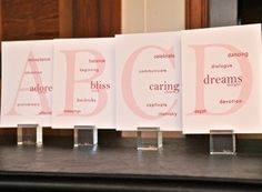 Love Letters; Table name cards