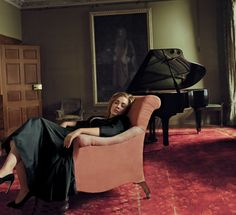 """Adele with piano in """"The Voice"""" for Vogue, March Photograph by Annie Leibovitz. """"Taking Time. After three years off with her new family, Adele brought all her experience to bear on her new album."""