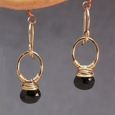 Earrings Spinel Wrapped on Circle Gold Silver Spinel by Lexpulsity