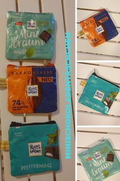 Sewing Projects, Projects To Try, Tetra Pak, Ritter Sport, Candy Bags, Sustainability, Mango, Lunch Box, How To Make