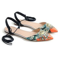 J.Crew Slingback Flats ($225) ❤ liked on Polyvore featuring shoes, flats, flat shoes, ankle wrap flats, leather flat shoes, ankle strap flats and woven leather shoes