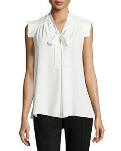 Max Studio Tie-Neck Sleeveless Blouse, Ivory New offer @@@ Price :$98 Price Sale $59