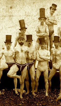 surreal and real wonderful life photo Brighton Swimming Club, Intriguing photo. The hats and poses, especially the one doing what looks like a yoga move. Antique Photos, Vintage Pictures, Vintage Photographs, Old Pictures, Vintage Images, Old Photos, Vintage Men, Pinterest Vintage, The Last Summer