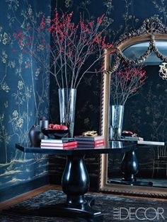 Fall Fashion at Home: Moody Florals, elledecor.com. Fromental's chinoiserie in col. saint tropez featured.