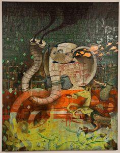 """ALËXONE,  Toile """"Porcelaine Chinoise""""  Exposition """"T'as le Look Croco"""" chez Gallery L.J.   Technique Mixte avec Acrylique, Pastel & Spraypaint sur Tissu imprimé,  Paris, 2010."""