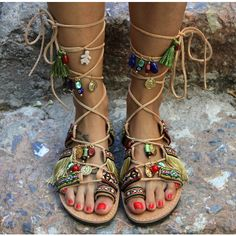 Tie Up Gladiator Sandals Boho Hippie Women's Shoes Greek Leather... ($181) ❤ liked on Polyvore featuring shoes, sandals, bohemian beaded sandals, fringe gladiator sandals, roman sandals, leather sandals and greek leather sandals