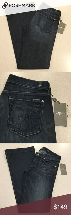 7 For All Mankind Jeans 29X35 Dojo In NYD Rivet! ❗️PRICE ABSOLUTELY FIRM❗️ 7 for all mankind jeans, NEW WITH TAGS! Size 29 35 inch unaltered long inseam (hard to find!) The dojo in New York dark rivet Famous black rivet 7 back pockets Vibrant blue stretch denim with medium fading Perfect NEW condition, no flaws Retailed for $212.00 My dojos sell fast so don't wait on these!  All of my items come from a smoke free, pet free home and are authenticity guaranteed! Please ask any questions…