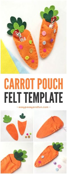 Carrot Treat Pouch Easter Felt Pattern to Print #feltpattern #Eastertreatpouch #EasterDIY