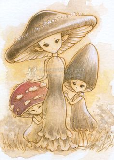 Mrs. Mushroom with Her Children by aruarian-dancer.deviantart.com on @deviantART