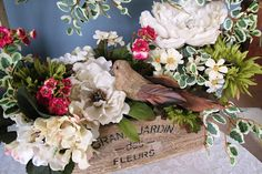 Floral Arrangement / Rustic Wood Box / by QuailHollowCreations
