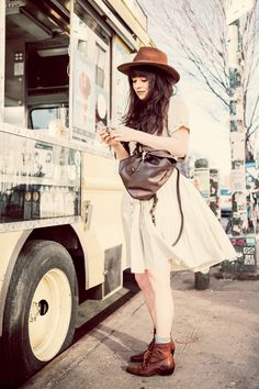 dress from the Revival Outpost, old hat, vintage boots and bag c/o Coach
