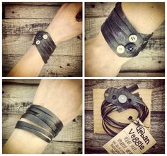 Repurposed upcycled bike tubes have been handcrafted into original art pieces for your wrist.