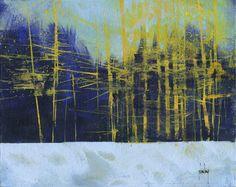 paulbaileyart  Golden winter pines/acrylic/10 x 8 inches/2016