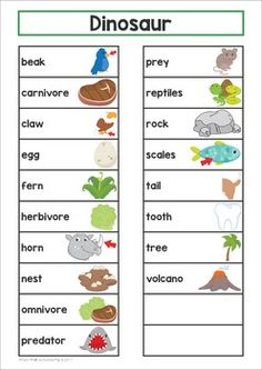 Dinosaur Word Wall. This packet includes large cards for the classroom wall and a small word list with pictures that you can put inside a binder and keep at your writing center.