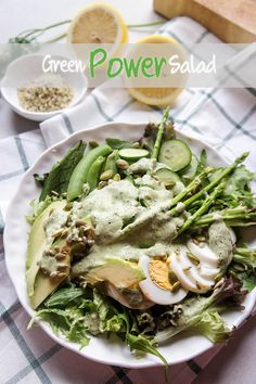 Green Goddess Dressing (Dairy Free, High Protein) - This creamy, tangy, herb packed dressing will amp of the flavor and nutrition of any salad!
