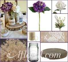 Rustic Purple Centerpiece ~ Jessica's Inspiration Board - Modern Design Wood Slab Centerpiece, Rustic Centerpieces, Wedding Centerpieces, Purple Centerpiece, Wedding Decorations, Rustic Purple Wedding, Rustic Wedding Signs, Floral Wedding, Yard Wedding