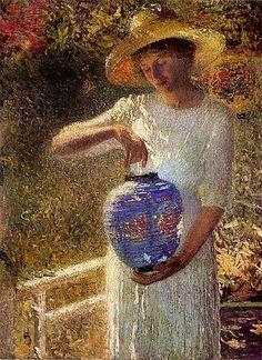 Helen M. Turner (1858-1958) American Impressionist Artist ~ Girl with a Lantern