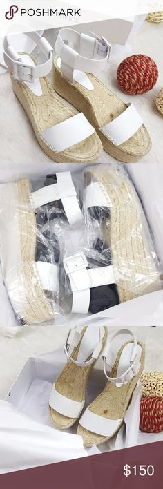 """Vince Abby White Leather  Platform Wedge Sandal BRAND NEW IN BOX WITH DUST BAG RETAIL FOR $295 VINCE ABBY PLATFORM ESPADRILLE WHITE SIZE 10 US A '70s-inspired espadrille platform lofts a modern vachetta leather sandal handcrafted in Spain and shaped with a clean, minimalist aesthetic. 3 1/2"""" (89mm) heel; 2""""platform  3 1/2"""" ankle strap height. Adjustable strap with buckle closure. Vachetta leather upper/leather lining/rubber sole. Made in Spain. Vince Shoes Sandals"""