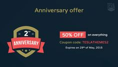 TeslaThemes turns 2 years old, get a massive discount