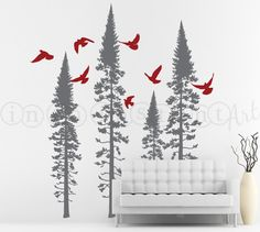 Fir Trees with Flying Birds Vinyl Wall Decal, Forest Tree Wall Decal, Forest Scene for Living Spaces, Baby Nursery, Kids or Room 099