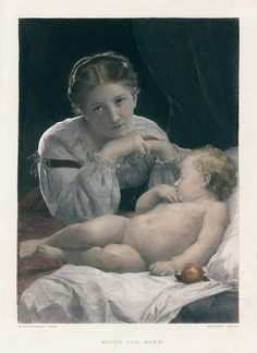 Watch and Ward (mother with child), after Bouguereau, 1877
